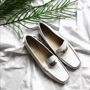 Escada white croc leather driving loafer